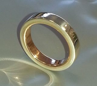 9kt yellow and sterling silver wedding ring
