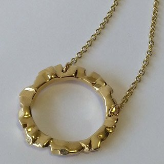 9kt yellow gold block ring pendant large