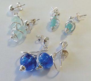 Blue drop earrings on silver wire