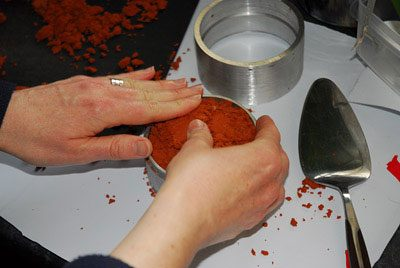 Filling the base with clay