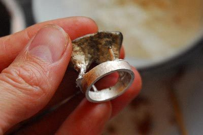 The cast silver ring.