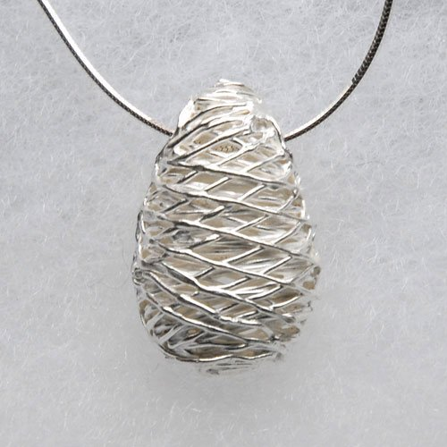 Fine-Silver-Pear-Drop-Hollow-Pendant