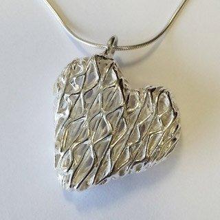 Fine silver hollow heart pendant fixed bail zigzag