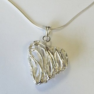 Fine silver hollow heart pendant with mobile triangular bail ~ large loops