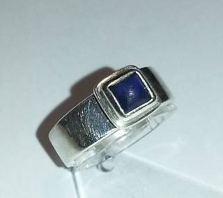 Repaired sterling silver and lapiz lazuli ring