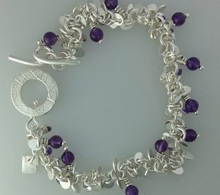 Sterling silver and amethyst loop and toggle bracelet