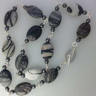 Sterling silver and black line jasper necklace
