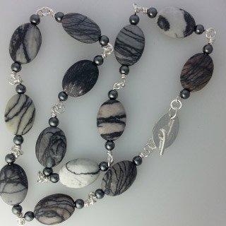 Sterling silver and black line jasper necklace