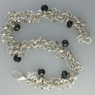 Sterling silver and black spinel bracelet