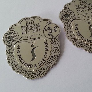 Sterling silver and laser engraved SI past president pins