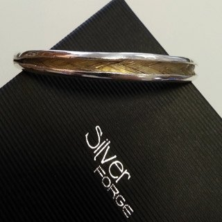 Sterling silver and memorial horsehair resin bangle 1