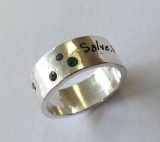 Sterling silver laser engraved and flush set topaz ring 1