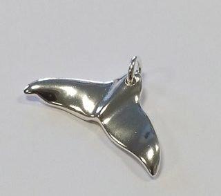 Sterling silver whale fluke pendant