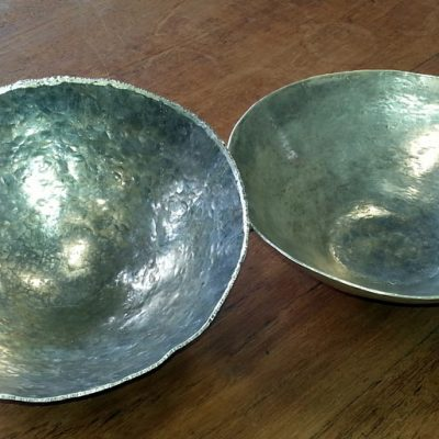 silver bowl Hand formed students work