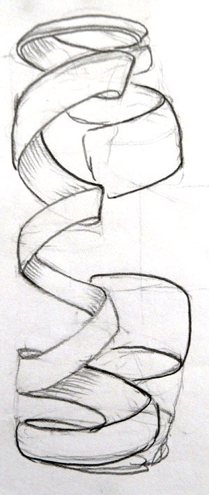 concept drawing of a silver spiral bracelet