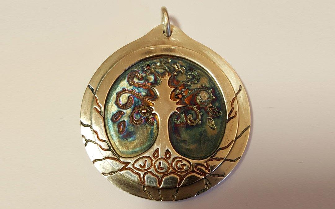 finished tree of life pendant coloured
