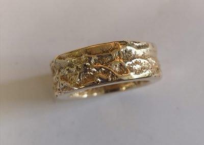 gold textured organic ring
