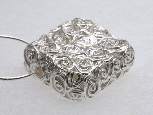 Fine Silver Swirls Hollow Pendant