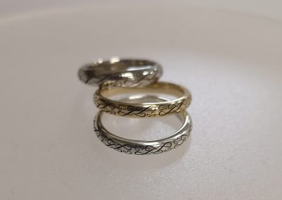 laser engraved initials gold ring