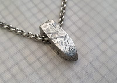 mens rugged grunge pendant silver sideview