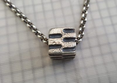 mens silver pendant cube